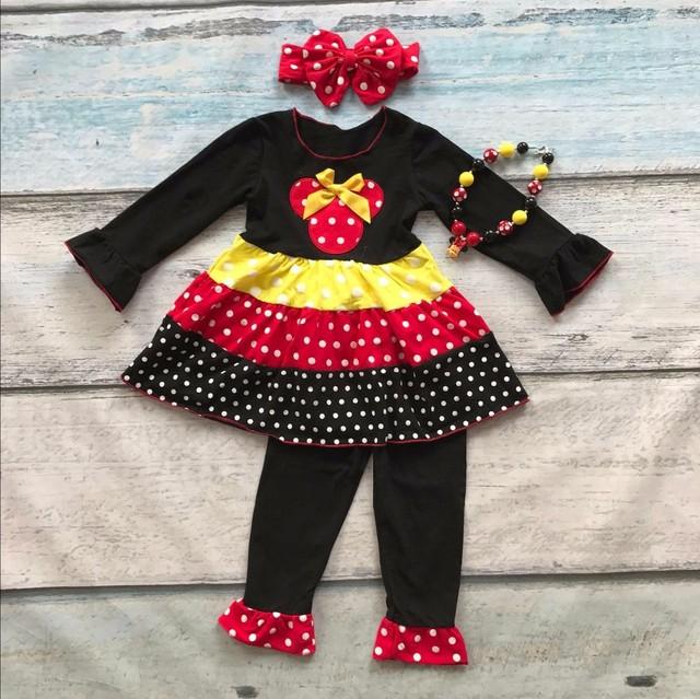 Nueva llegada de OTOÑO TRAJES de bebé de algodón punto amarillo rojo minnie top negro ruffles pant establece girls boutique con collar y arco