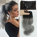 Ombre Black Grey Clip In Hair 120g Unprocessed Brazilian Virgin Hair Body Wave 7pcs/set Grey Clip In Human Hair Extensions