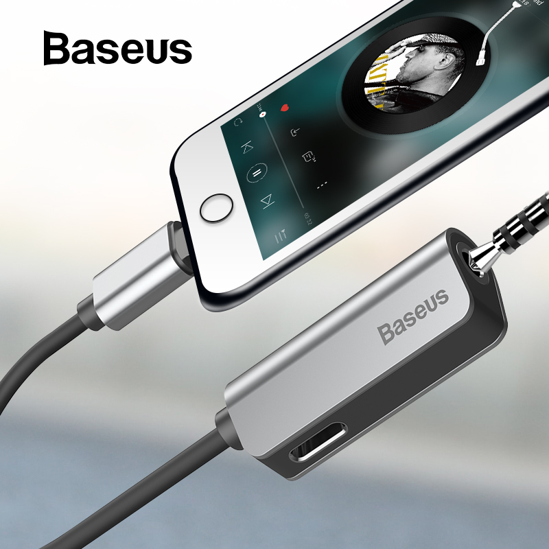 Baseus para Cable de Audio para iPhone 8 7 Divisor de Cable para iPhone 3,5mm Jack adaptador para iPhone Cable Aux iOS 11