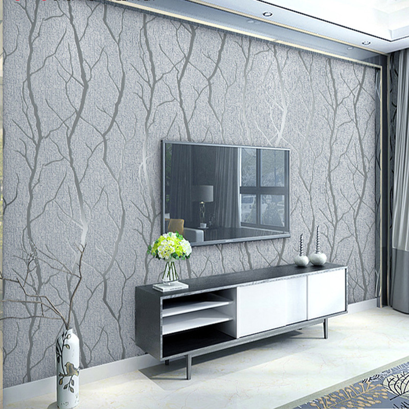 Modern Minimalist Fashion Non Woven Wallpaper Rolls 3D Embossed Branch Stripe Wall Paper For Living Room