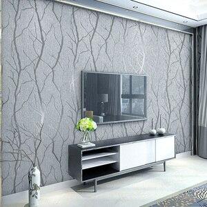 Image 1 - מודרני מינימליסטי אופנה לא ארוג טפט לחמניות 3D בולט סניף פס קיר נייר לסלון טלוויזיה ספת רקע קיר
