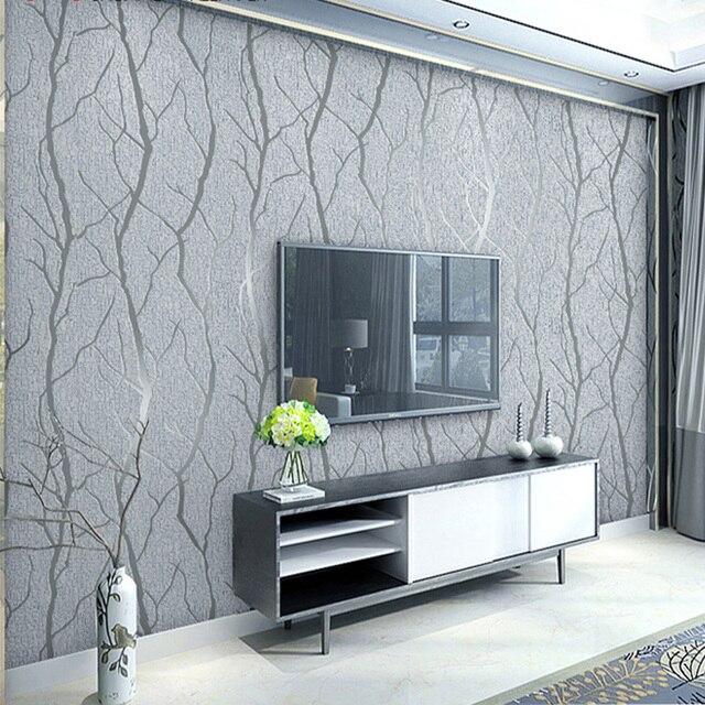 מודרני מינימליסטי אופנה לא ארוג טפט לחמניות 3D בולט סניף פס קיר נייר לסלון טלוויזיה ספת רקע קיר