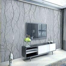 현대 미니 멀리 즘 패션 부직포 벽지 롤 3d 양각 된 분기 스트라이프 벽 종이 거실 tv 소파 배경 벽