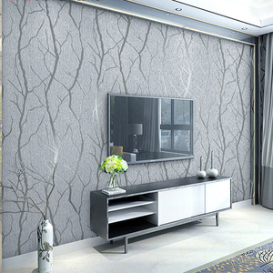 Image 1 - Modern Minimalist Fashion Non Woven Wallpaper Rolls 3D Embossed Branch Stripe Wall Paper For Living Room TV Sofa Background Wall