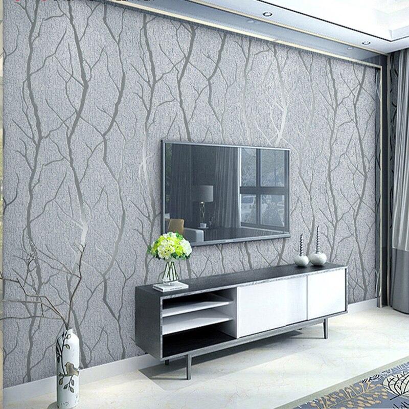 Papier peint Non-tissé moderne de mode minimaliste roule le papier peint de rayure de branche de relief de 3D pour le mur de fond de Sofa de TV de salon
