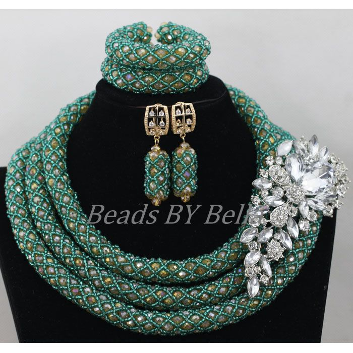 African Wedding Beads Nigerian Party Women New Jewelry Set Crystal Beads Necklace Hot Bridal Jewelry Sets Free Shipping ABF804