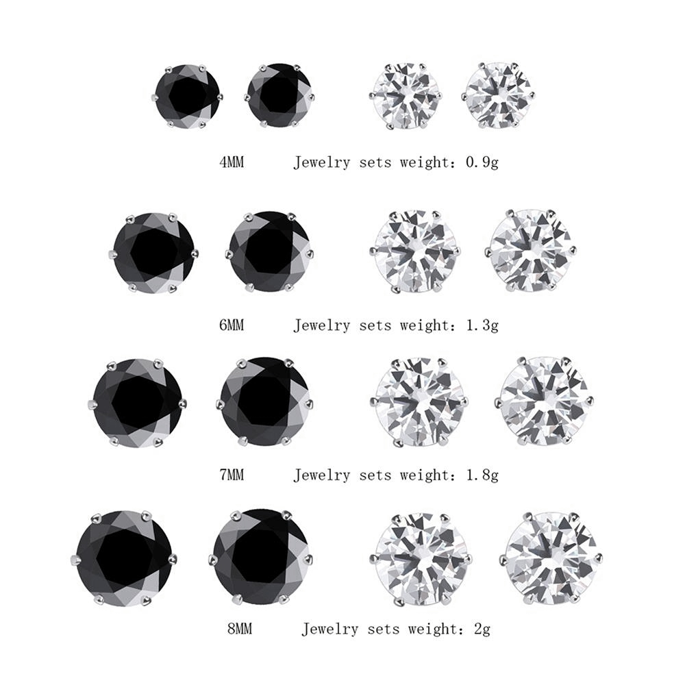 6/8/12 Pair Mixed Size White&Black Color Cubic Zircon Stud Earrings SET Shine Crystal Ear Studs for Men&Women Punk Party Jewelry