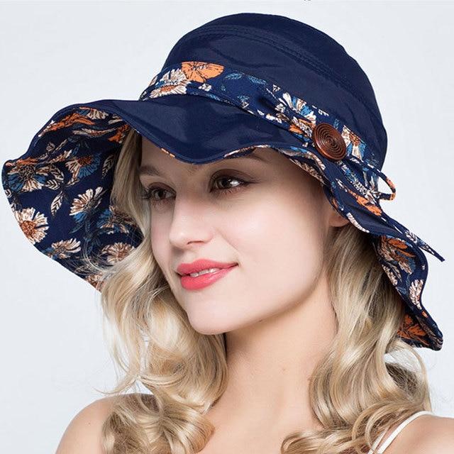 cdcbdacd8cc56 Dame D'été Solaire Pêcheur Chapeau Large bord Bowknot Floral Seau Chapeaux  Pour Les Femmes
