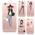 Vestido de moda shopping girl casos para iphone 5 se case transparente clara suave del silicio para el iphone 5s cubierta del teléfono
