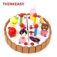 THINKEASY Early Education Baby Cake Decoration Toy Set DIY Safey Wooden Toy Kid Wood Figure Set