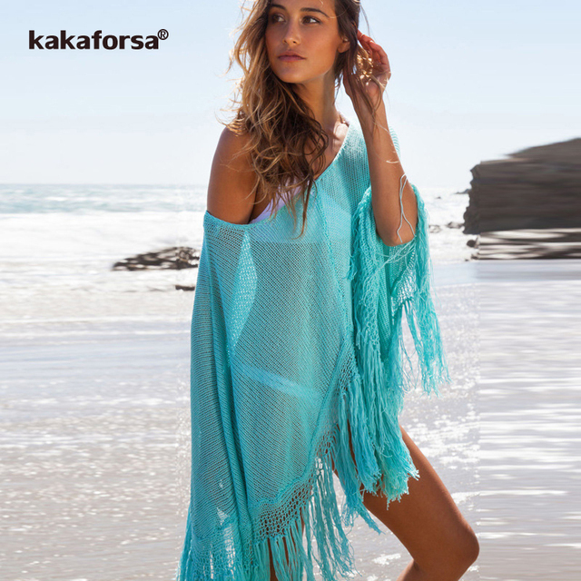 a4553e03e3 Kakaforsa Sexy Crochet Hollow Beach Cover Up 2018 Tassel Swimwear Swimsuit  Cape Bikini Pareos Knitted Bathing Suit Cover-Ups