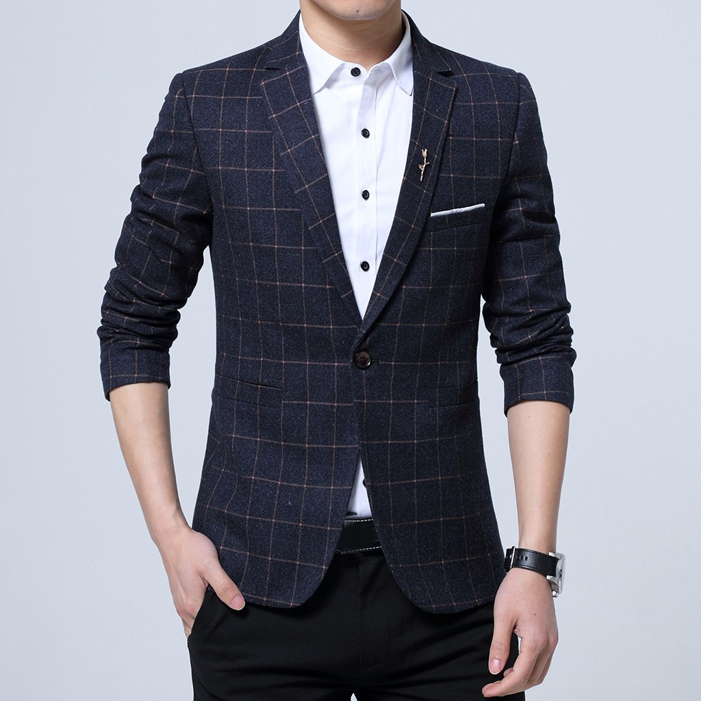 Suit Jacket Collar Long-Sleeve Men's Formal Notched Outwear Tops Fitness One-Button New-Fashion