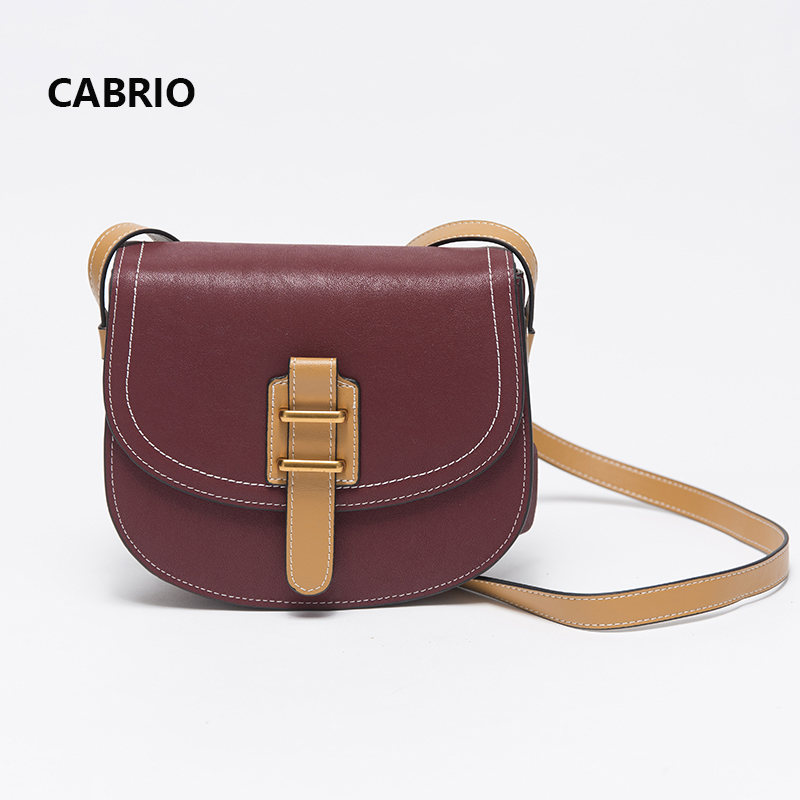 CABRIO Women Flap Messenger Bags Genuine Leather Crossbody bags Vintage Style Saddle Metal Hasp Ladies Small Bags Candy colour cabrio casual women crossbody bags patchwork genuine leather flap small messenger bags for ladies women clutch bag metal button