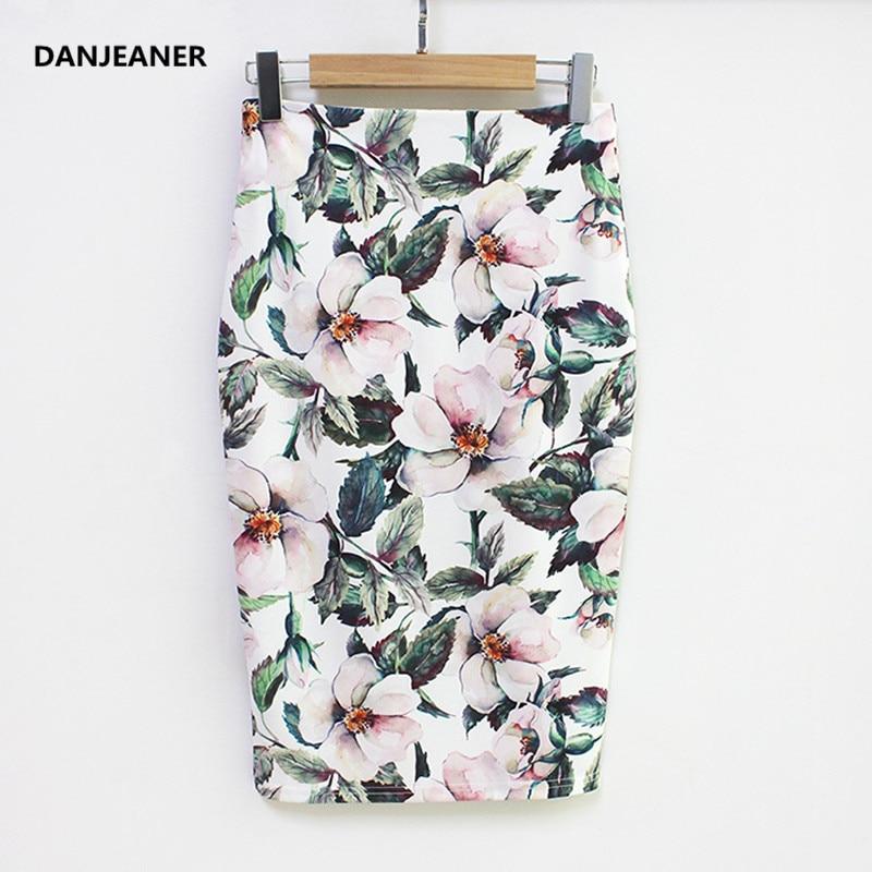 Danjeaner Summer Style Pencil Skirt Women High Waist Mid Length Skirts Vintage Elegant Bodycon Floral Print Midi Skirt Plus Size
