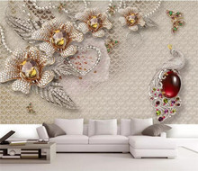 3d papel parede Crystal Peacock Flower Glitter Wallpaper mural 3d photo wallpaper 3d wall Mural for Wedding Room home decor все цены