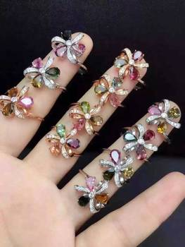Natural multicolor tourmaline Ring Natural gemstone Ring 925 sterling silver trendy Clover Windmill women's girl party Jewelry
