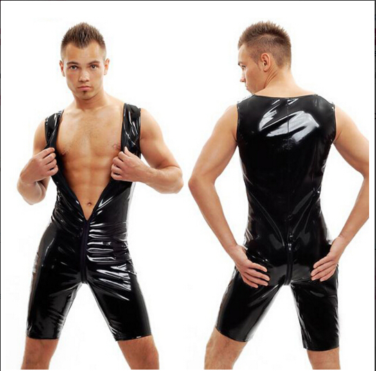 2016 new PVC Sexy Men Front Zipper Bodysuit Latex Leotard Faux Leather Fetish Party Club Costume Sexy Teddy For Men Size M- XXL
