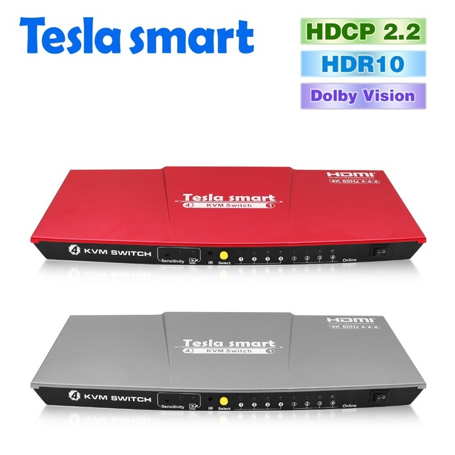 2b95fb32813 Tesla smart HDMI 2.0 4K@60Hz 4 Port USB KVM HDMI Switch for Many Computer  PC Support IR USB 2.0 Wireless Mouse Keyboard