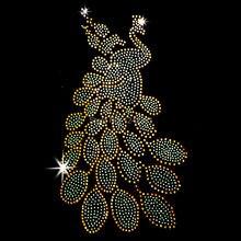 New Yellow Peacock crystal stone hot fix rhinestone transfer designs stra ss iron on motifs for t shirt dance dress cloth SS56