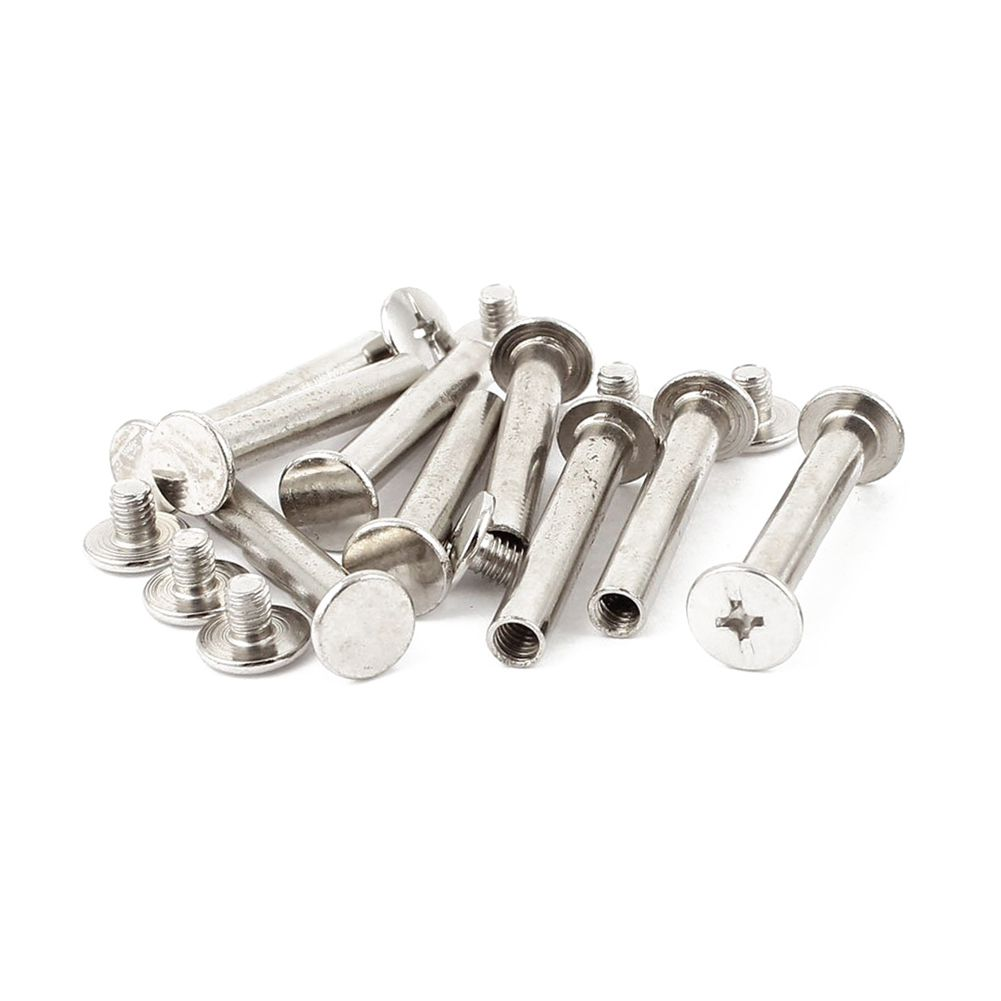 10 set Scrapbook 5mmx30mm Nickel Plated Binding Chicago Screw Post uxcell 10pcs 5mmx10mm nickel plated binding chicago screw post for album scrapbook
