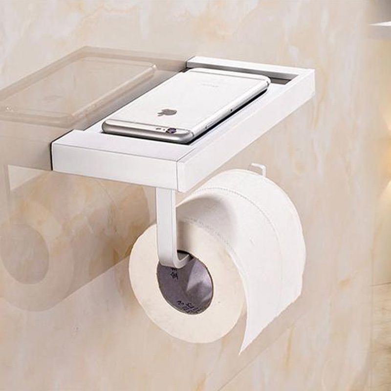 1 Pcs Alumiumn Wall Mounted Square Thick Bath Toilet Paper Holders Tissue Waterproof Hanger