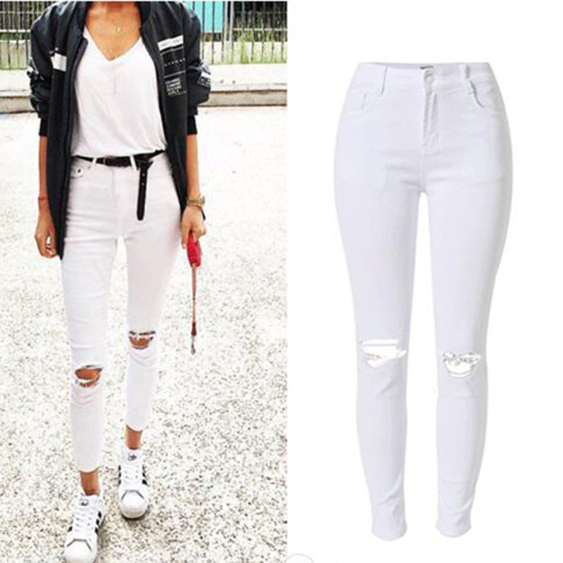 Fashion Women Skinny White Denim Jeans Pants Hole Streetwear Slim Cotton Denim Pencil Pants High Waist Female Denim Pants Jeans