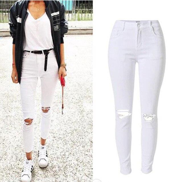 Moda mujer flaco Denim blanco Vaqueros Pantalones agujero streetwear  Delgado algodón Denim lápiz Pantalones alta cintura a5bbb47a482f