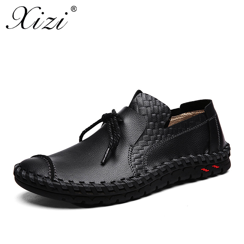 XIZI Men Casual Leather Shoes Fashion Handmade Outdoor Walking Shoes For Men Flat Driving Moccasins chaussures homme boat shoes in Men 39 s Casual Shoes from Shoes
