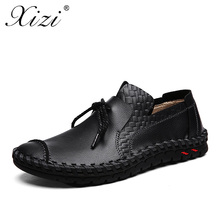 XIZI Men Casual Leather Shoes Fashion Handmade Outdoor Walking Shoes For Men Flat Driving Moccasins chaussures homme boat shoes