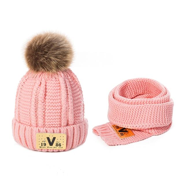 Moda invierno sombrero y bufanda para niños niñas cálido gorros bufanda  anillo de invierno sombreros gorros c2b5fe44c89