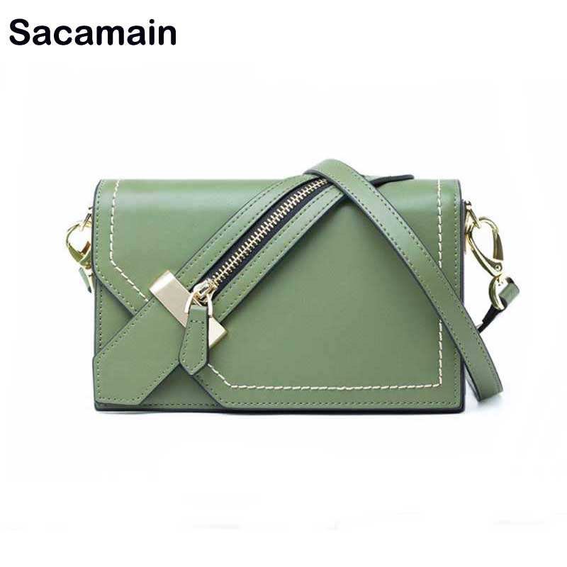 Sacamain Brand Spring Summer Leather Shoulder Bags With Nice Wide Strap Genuine Leather Women Messenger Shoulder Bag Sacamain Brand Spring Summer Leather Shoulder Bags With Nice Wide Strap Genuine Leather Women Messenger Shoulder Bag