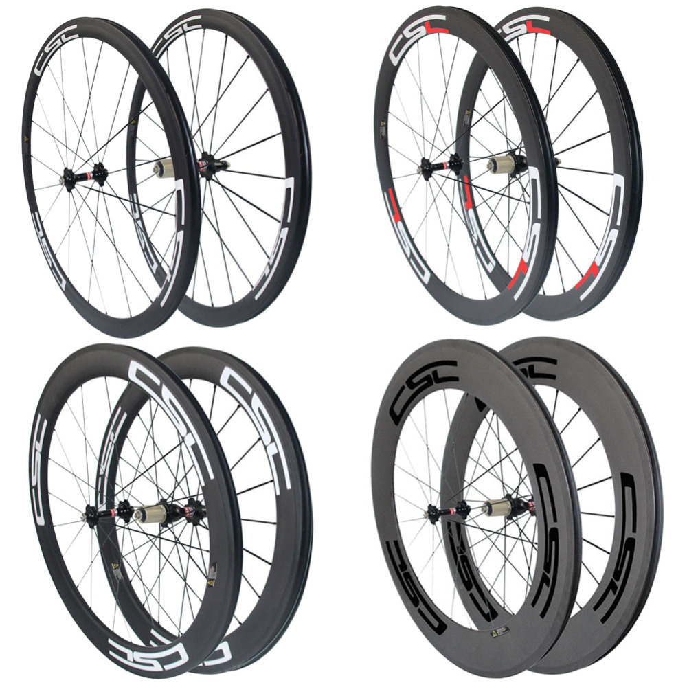 CSC 700C 24 38 50 60 88mm Clincher Tubular Carbon bike Road wheels with novatec or