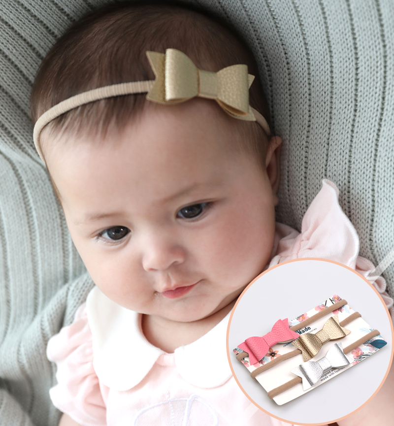 Baby Girls Headband Fashion Leather Bow Knot Infant GIrl Bandage Kids Toddlers Head Wrap Hair Band Infant Clothes Accessories