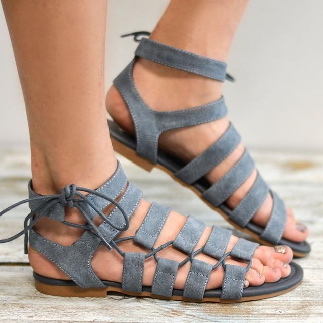 Плюс Размеры 34–43 Римские сандалии 2018 Летние женские сандалии Новый стиль Повседневная Летняя обувь женские пляжные летние туфли на плоской подошве женская обувь