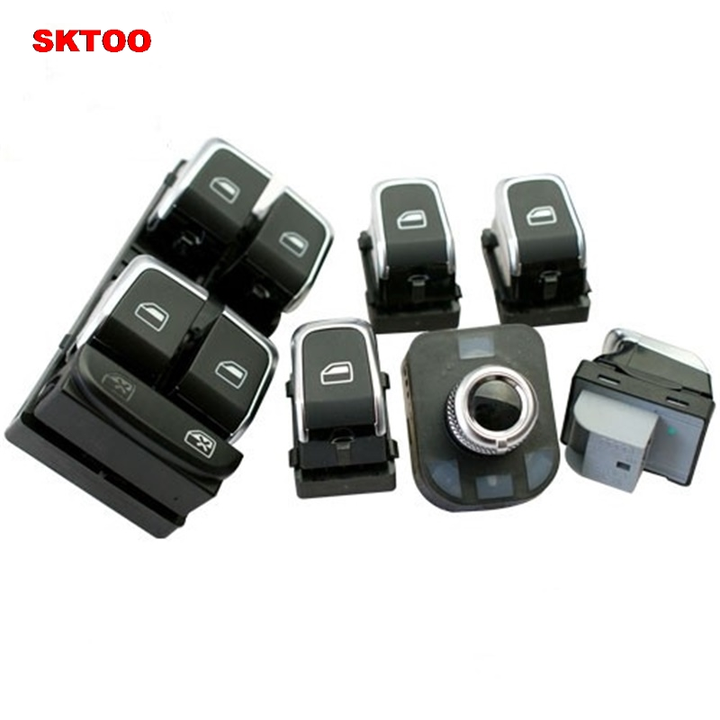 SKTOO Chrome Master Window Lifter Switch+Trunk Switch+ Side Mirror Switch with folding For Audi Q5 B8 B9 A4 A5 8KD 959 851A