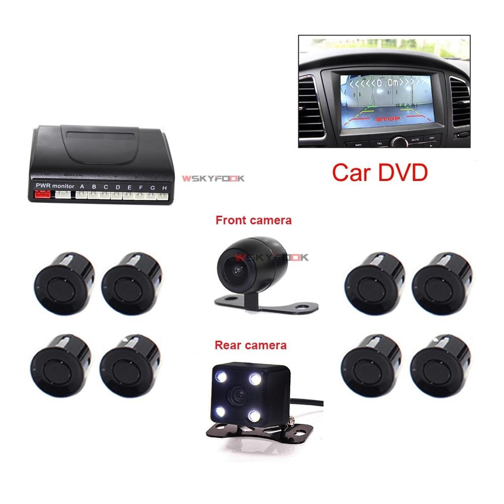 2 in 1 Car Video Parking Sensor Reverse Backup Radar Assist With 2 Cam Front/Rear View Reversing Camera new dual channel video car parking sensors reverse radar system 8 sensor with front