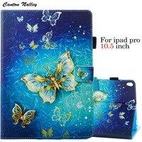 Cantão Nalley Crânio Borboleta Flor Capa de Couro PU Tablet Titular caso para o iPad Da Apple Pro 10.5 polegada de Tela Capa + protetor