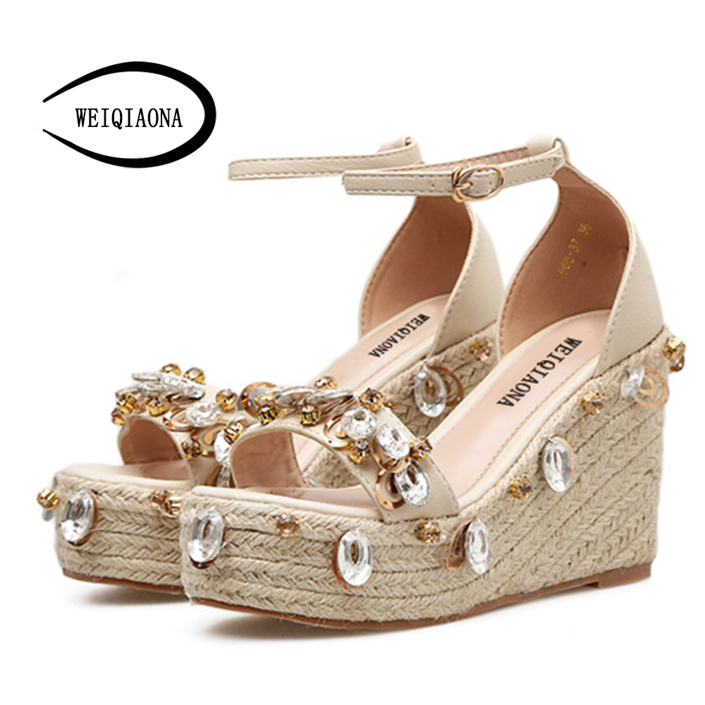WEIQIAONA 2018 New Hot Sale Fashion Summer Women bling crystal Sandals High Waterproof Platform Expose Toe Sexy Casual shose