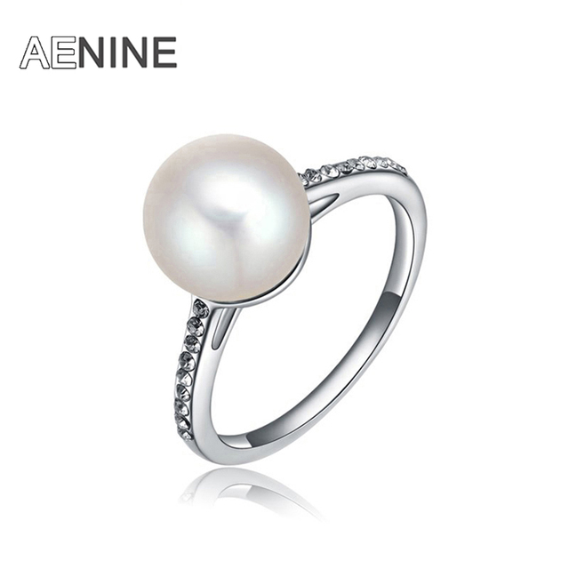 AENINE Fashion Elegant White Simulated Pearl Engagement Rings For Women Silver C