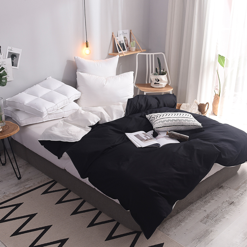 100% Cotton white and black duvet cover 150*200cm,200*230cm,220*240cm bedding twin full queen king size solid simple quilt cover100% Cotton white and black duvet cover 150*200cm,200*230cm,220*240cm bedding twin full queen king size solid simple quilt cover