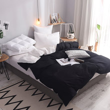 100% Cotton white and black duvet cover 150*200cm,200*230cm,220*240cm bedding twin full queen king size solid simple quilt cover(China)