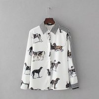 New 2017 Women Fashion Blusa Dog Printed Buttoned Placket Casual Blouse Femme