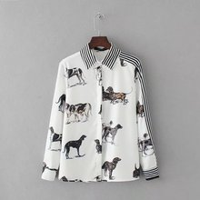Shirt White Striped Dog Long Sleeve Blusas