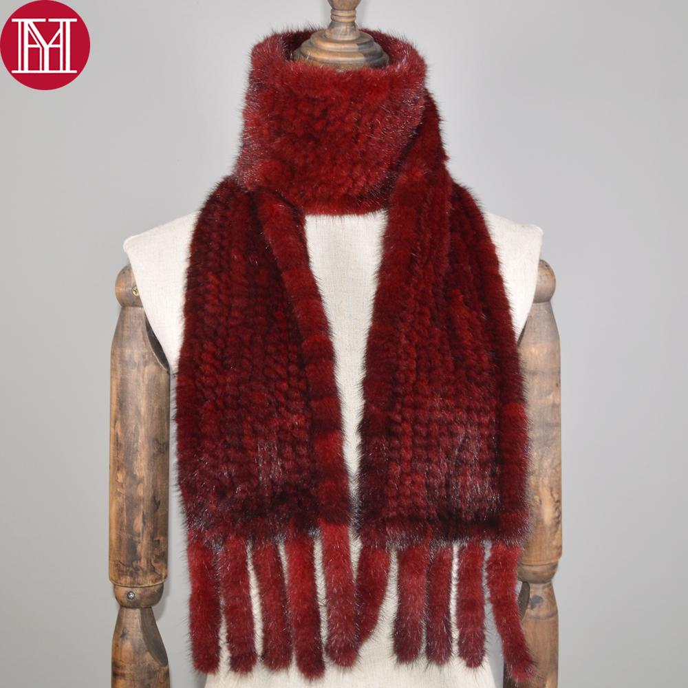 Hot Sale Long Style Women Real Mink Fur Scarf Genuine Real Mink Fur Scarfs Warm Soft Quality Knitted Real Mink Fur Shawl Scarves