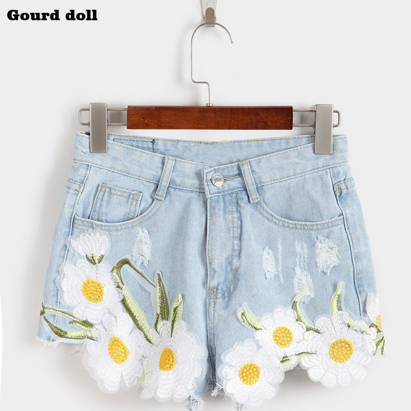 Gourd doll Appliques Ripped Embroidery  female Denim Shorts Wide Leg Pants high Waist Women Jeans Short size S-XL Shorts купить