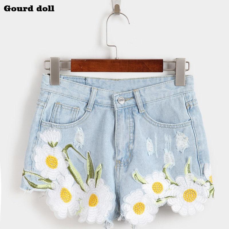 купить Gourd doll Appliques Ripped Embroidery  female Denim Shorts Wide Leg Pants high Waist Women Jeans Short size S-XL Shorts недорого