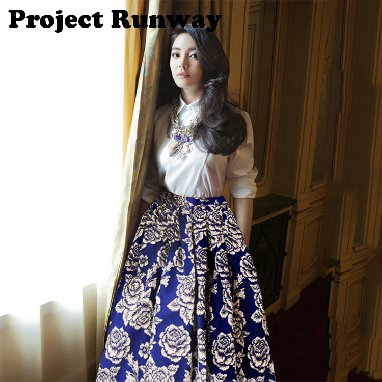 5a3b88581103 Project Runway 2014 Autumn Winter New Items Indian Clothing Wholesale  Jacquard Print 100% Polyester Midi Long Hmong Skirt S L-in Skirts from  Women s ...