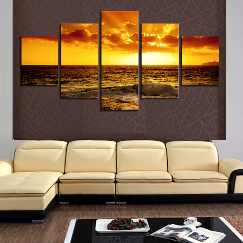 Frame 5 panel modern printed canvas oil painting decorative wall ...