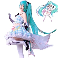 New Anime Vocaloid Hatsune Miku Cosplay Costume Miku 2019 Racing Fancy Dress Carnival/Halloween Adult Costumes for Women S XL