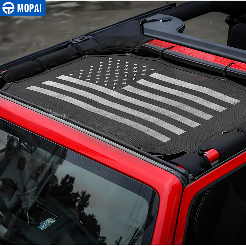 Image 3 - MOPAI 2/4 Door Car Roof Mesh Bikini Top Sunshade Cover UV Sun Shade Mesh for Jeep Wrangler JK 2007 2017 Car Accessories Styling-in Car Covers from Automobiles & Motorcycles